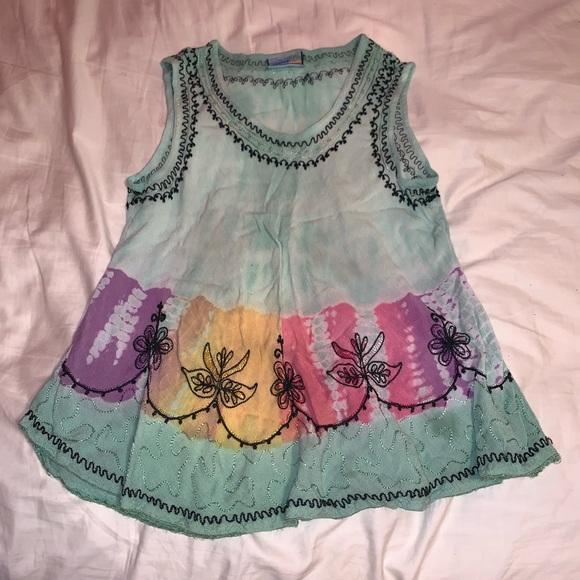India Boutique Tops - Boho Hippie Gypsy Style Rainbow Tie Dye Tank Top